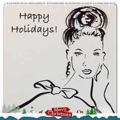 'Happy holidays' fashion illustration by Susan Chung, https://www.facebook.com/pages/Susan-Chung-Illustrations/331104350407447?ref=hl