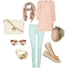 outfit: 3/4-sleeved pastel-pink jumper, pastel-blue skinny-jeans, cream / orange / purple scarf, offwhite handbag, pink-tinted sunglasses, gold / brown / white / orange / blue beaded bracelets, glittery nude flats, pastel-pink / gold ring