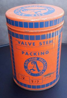 The contents are gone and the tin has been well cleaned of any residual material. Nicely colored in orange and blue, this valve stem packing tin