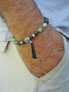 Men& Bracelet with Black Carved Quartzite, Baked Silver and Turquoise Crackle, Green Lampwork, Bone and Bali Beads - Charm Leather Tassel Bracelets For Men, Fashion Bracelets, Jewelry Bracelets, Paracord Bracelets, Pandora Jewelry, Jewelry Accessories, Fashion Accessories, Bijoux Diy, Leather Tassel