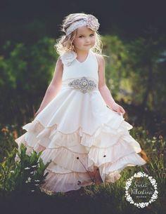 a5def3944 Flower girl dress, boho flower girl dress,rustic Ivory flower girl dress , flower  girl dresses, beach wedding flower girl dress, champagne
