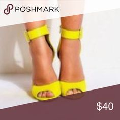 Looking for these-HELP😍 ANY Brand, Chunky Heel, leather or suede or man-made materials fine, but no patent leather, size 9-9.5, in that pretty yellow color in pic. The pic is sorta blurry, but I'm sure you girls get the idea!! Also prefer a thick strap around ankle vs. a real thin one...                                                        I sure do appreciate your help😉👍🏼💕😜 Shoes Heels