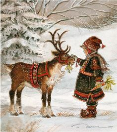 Trisha Romance, influenced by her time in Sweden and Carl Larrson….Lots of Lap… Trisha Romance, influenced by her time in Sweden and Carl Larrson….Lots of Laplanders to inspire her… Christmas Scenes, Noel Christmas, Vintage Christmas Cards, Christmas Pictures, Winter Christmas, Reindeer Christmas, Vintage Cards, Christmas Glitter, Christmas Gifts