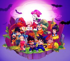 Chibi Dragon Ball Halloween by longlovevegeta.deviantart.com on @deviantART