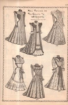 1899 Original Delineator Fashion Print 6 Tea Gowns and Wrappers | eBay