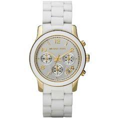 Michael Kors MK5145 Women's Two Tone Stainless Steel Quartz Chronograph White Dial Watch