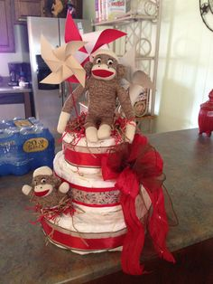 Sock Monkey Diaper Cake I made for my baby shower (:
