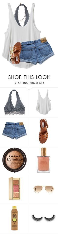 """""""missing summer//rtd!!"""" by lindsaygreys ❤ liked on Polyvore featuring Victoria's Secret, RVCA, Abercrombie & Fitch, Steve Madden, LORAC, Estée Lauder, Ray-Ban, Forever 21 and Lead"""