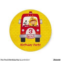 Fire Truck Birthday Boy Classic Round Sticker / fireman, firefighter