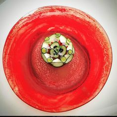Raw red shrimp/zucchini salad/caviar/olive-oil pearl /Rosemary flower.