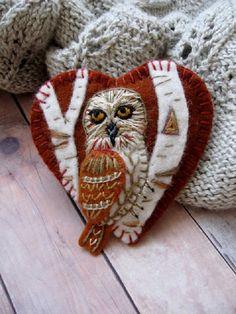 Owl on Birch Tree Brooch  $16