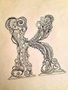 """image """"K"""" zentangle letter"""