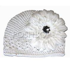 BABY BOUTIQUE HAT (white) with Big Flower - Newborn, Infant & Baby Girls Crochet Kufi Beanie Hat.  Posh Bop Wholesale Baby Boutique $5.00