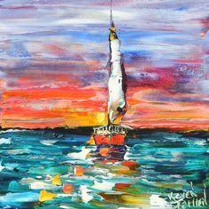 Original Oil Painting Sunset Sailing modern by Karensfineart
