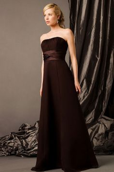 Strapless chiffon over satin bridesmaid dress with empire waist - Like the bodice, but not the length.