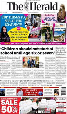 Herald ( Saturday September 8 2018) #news #newspaper Sharon Rooney, Herald News, September 8, Newspaper, Kids Fashion, School, Kids Outfits, Schools, Fashion Children