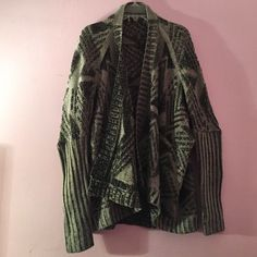 """Sparkle and Fade tribal sweater Open sweater with tribal print in grey and black. Originally from Urban Outfitters. 100% acrylic. Length: 28"""". Sparkle & Fade Sweaters"""