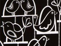 163883 schwarzer Michael Miller Stoff weisse Vögel
