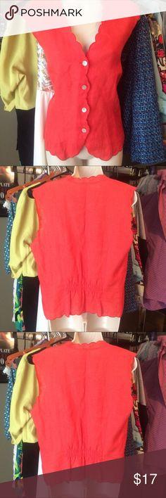 Talbots Irish Linen Vest Blouse Orange Irish Linen Vest. With scalloped edges. Talbots Tops