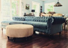 """""""Delivering smiles every day!"""" This chic Chesterfield Sofa + Hide Ottoman made one of our customers very happy! (1) COCOCO Home (@TheCoCoCo) 