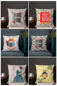 colorful and comfy throw pillows, perfect for book lovers. Book Lovers Gifts, Gift For Lover, Reading Room Decor, Free Poster Printables, Gifts For Librarians, Printing Companies, Creative Studio, Decorative Pillows, I Shop
