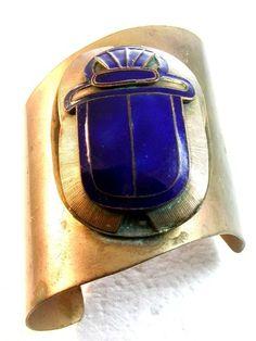 Egyptian Revival Brass & Blue Enamel Scarab Cuff Bracelet