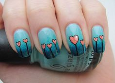 Growing Hearts Manicure by karamellilunta