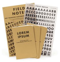 Dry transfer letters for Field Notes.