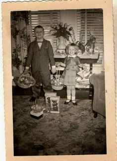Vintage Photo of Children Holding their Easter Baskets...