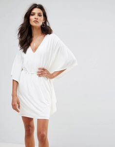 7a4590571b78 Discover Fashion Online White Dress With Sleeves, White V Neck Dress,  Ruffle Sleeve Dress