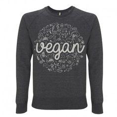 Felpa unisex Vegan Chiaralascura http://chiaralascura.com/it/donna/58-back-in-stock-felpa-unisex-vegan.html#/colore-melange_black/taglia-xs