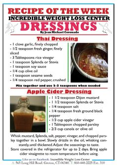 thai dressing & apple cider dressing