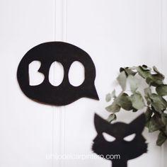 Boo! Porque Halloween, también es la noche de los sustos y así lo hemos querido representar. Este bocadillo de madera con texto vaciado servirá para decorar una pared o hacerte las fotos más terroríficamente divertidas. Halloween, Decorate Walls, Wood, Guava Jelly, Concept, Minimalist, Spooky Halloween