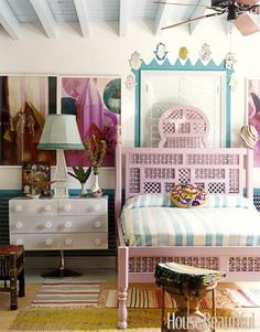 A Moroccan Bedroom  The bed in this bedroom designed by Gene Meyer and Frank de Biasi is a tour de force of traditional Moroccan woodwork, custom-made in Marrakech. The bedspread is handwoven in Tangier.