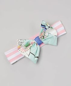 This Mint Carousel Big Bow Headband by Baby & Me Designs is perfect! #zulilyfinds