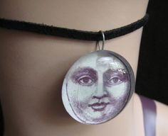 Man on the moon Glass Cabochon Necklace by stevenssteampunk