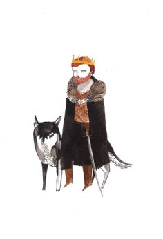 Rob Stark with Grey Wind Game of Thrones Fan Art by DickVincent