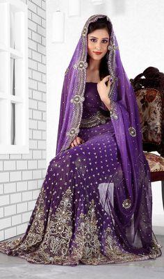Purple Color Lengha Saree - love!