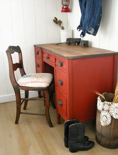 Farmhouse Red Desk Makeover - by Prodigal Pieces furniture diy furniture dresser furniture upcycling furniture ideas Refurbished Furniture, Repurposed Furniture, Vintage Furniture, Painted Furniture, Dresser Repurposed, Desk Redo, Desk Makeover, Furniture Makeover, Furniture Projects