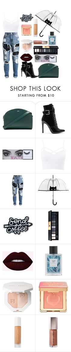 """#43"" by the-real-violet ❤ liked on Polyvore featuring A.P.C., Danielle Guizio, Charlotte Russe, John Lewis, Too Faced Cosmetics, Puma, modern and plus size clothing"