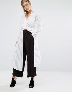 Image 1 of Parallel Lines Wrap Tie Front Maxi Shirt