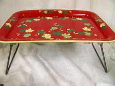 Vintage Red Metal Collapsible Breakfast in Bed Lap by snogirl