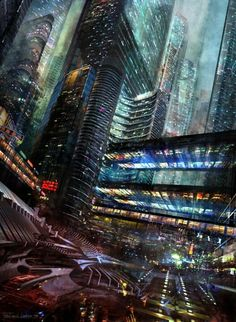 Cyberpunk, Cyber City, Futuristic Architecture, Future, Sci-Fi City by Ferdinand Ladera.
