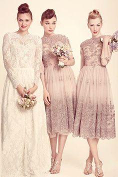 Pale pink bridesmaid dresses...