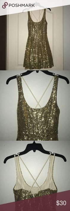 Semi-Formal Gold Sequin Homecoming Dress Super adorable and flowy dress, perfect for a homecoming dance! Only worn once. B Darlin Dresses Prom