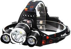 InnoGear 5000 Lumen Bright Headlight Headlamp Flashlight Torch 3 CREE XM-L2 T6…
