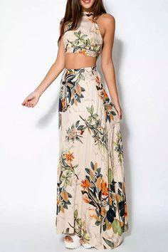 leaf print crop top and maxi skirt set | USTrendy www.ustrendy.com #ustrendy