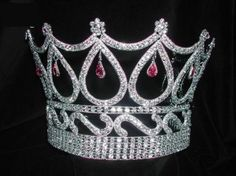 large beauty pageant crowns | LARGE Queen - Beauty Pageant Queen Rhinestone Royal Pink Crown Tiara ...