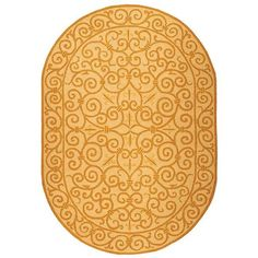 Safavieh Hand-hooked Chelsea Irongate Ivory/ Gold Wool Rug (4'6 x 6'6 Oval) (HK11P-5OV) (Cotton, Border)