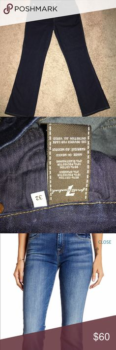 7 for all Mankind bootcut jeans Like new only worn once.  Mi e are a dark wash.  A pocket.  30' inseam.  See pic 2 for material makeup.  Paid $198 for them @ Nordstrom.  Price is firm. 7 For All Mankind Jeans Boot Cut